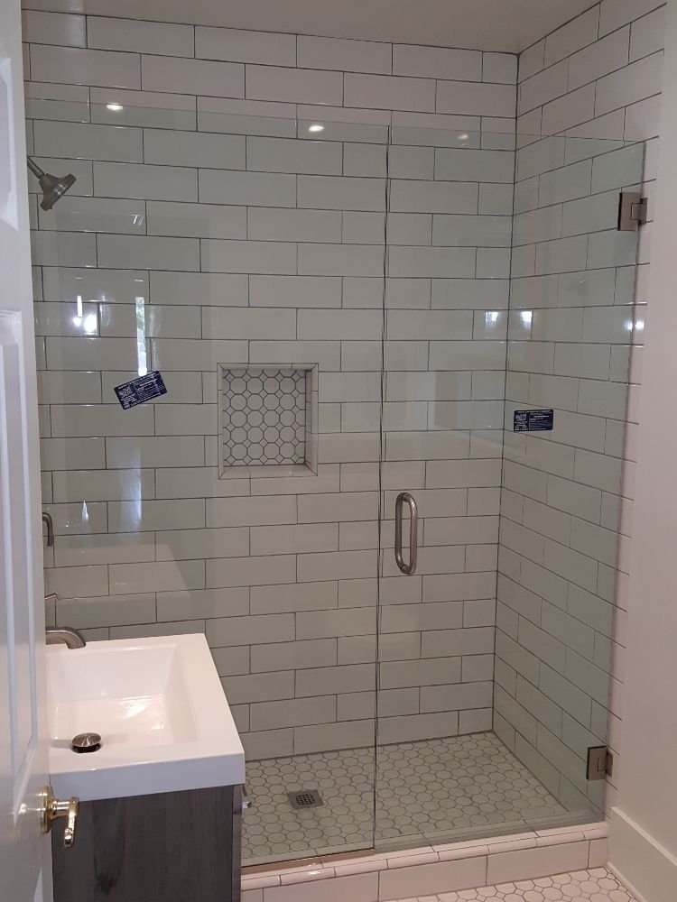 3/8 clear Tempered frameless shower unit with brushed nichel ...