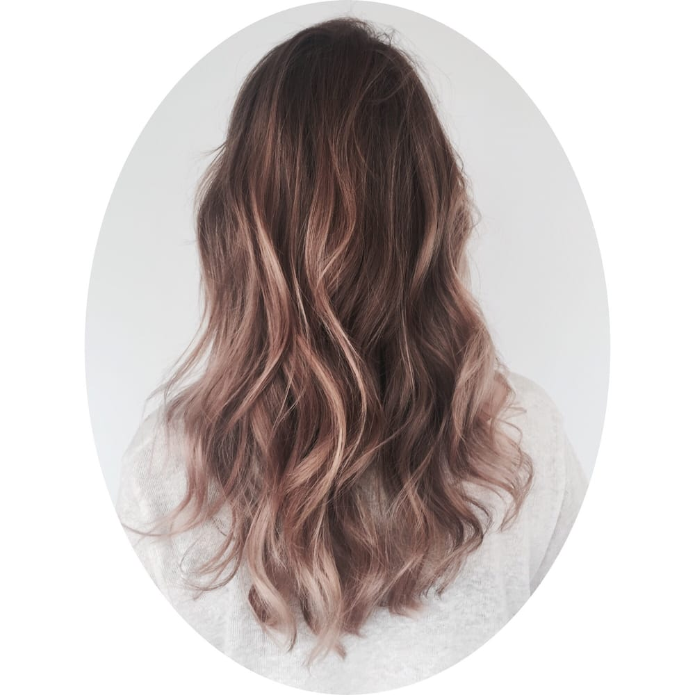Balayage Highlight With A Rose Gold Toner And Haircut By