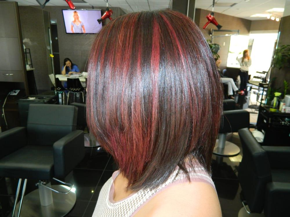 Highlight Haircut Irvine 92604 Red Highlight A Line Bob Haircut Red