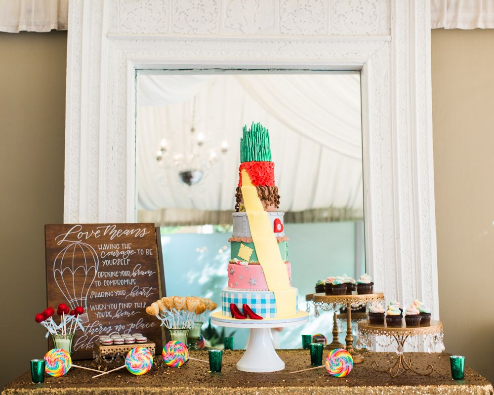 Wizard of Oz Wedding. Themed cake and dessert bar. Photo by Laura ...