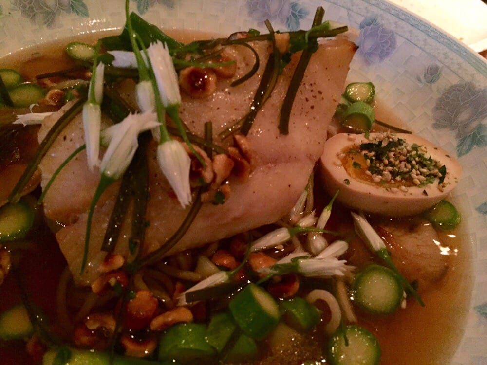 Black cod with asparagus ramen soft boiled egg shiitake for Little fish philly