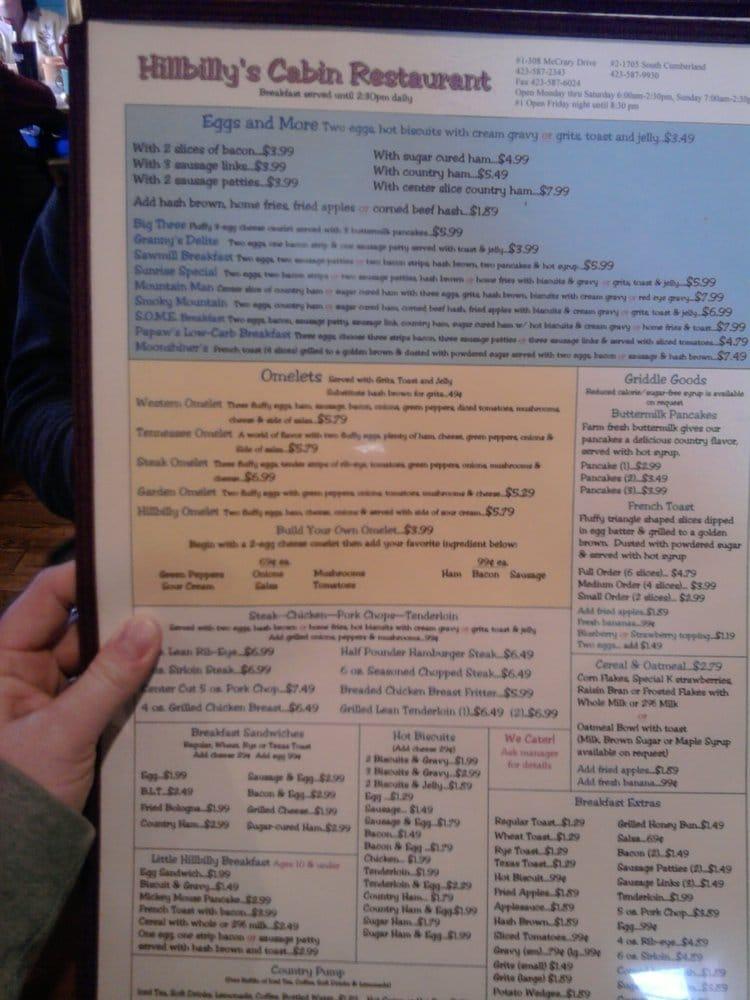 Hillbilly S Cabin Restaurant 18 Beitr 228 Ge Fr 252 Hst 252 Ck