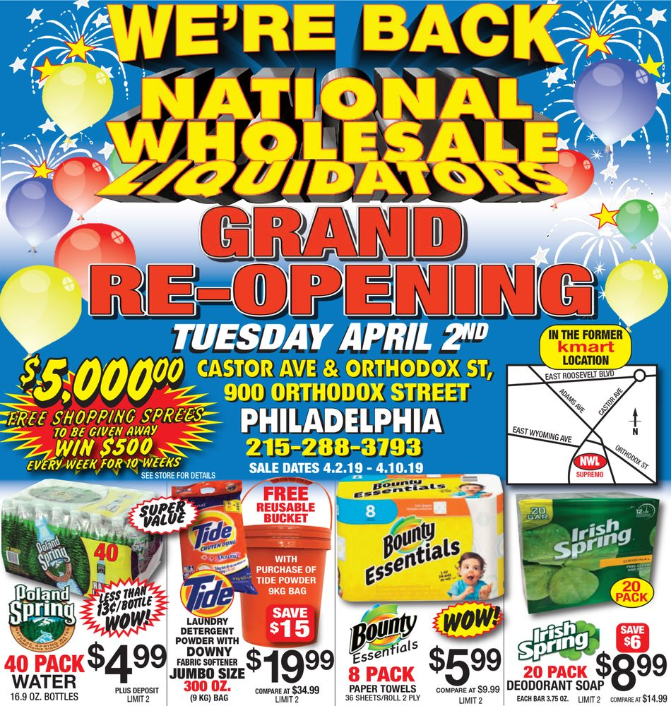 National Wholesale Liquidators: 900 Orthodox St, Philadelphia, PA