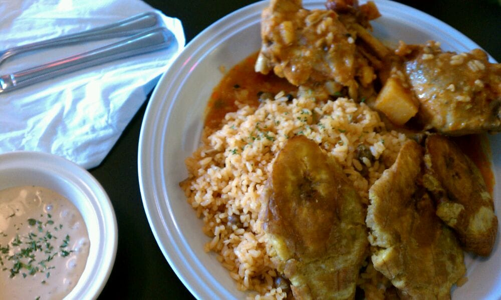 Fricase de pollo beer braised chicken fried plantains for Austin s caribbean cuisine
