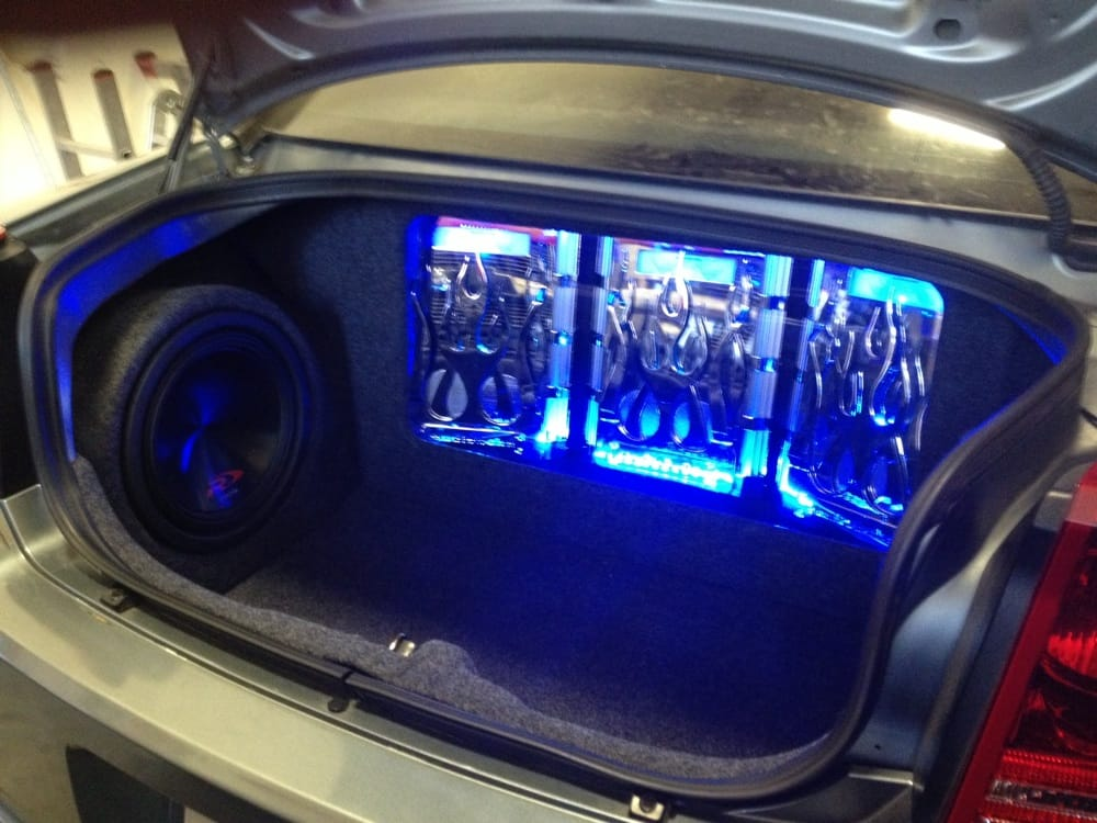 Photo of Metro Sound - Huntington Beach CA United States. Chrysler 300 trunk & Chrysler 300 trunk build out. 3 Amps 2 12