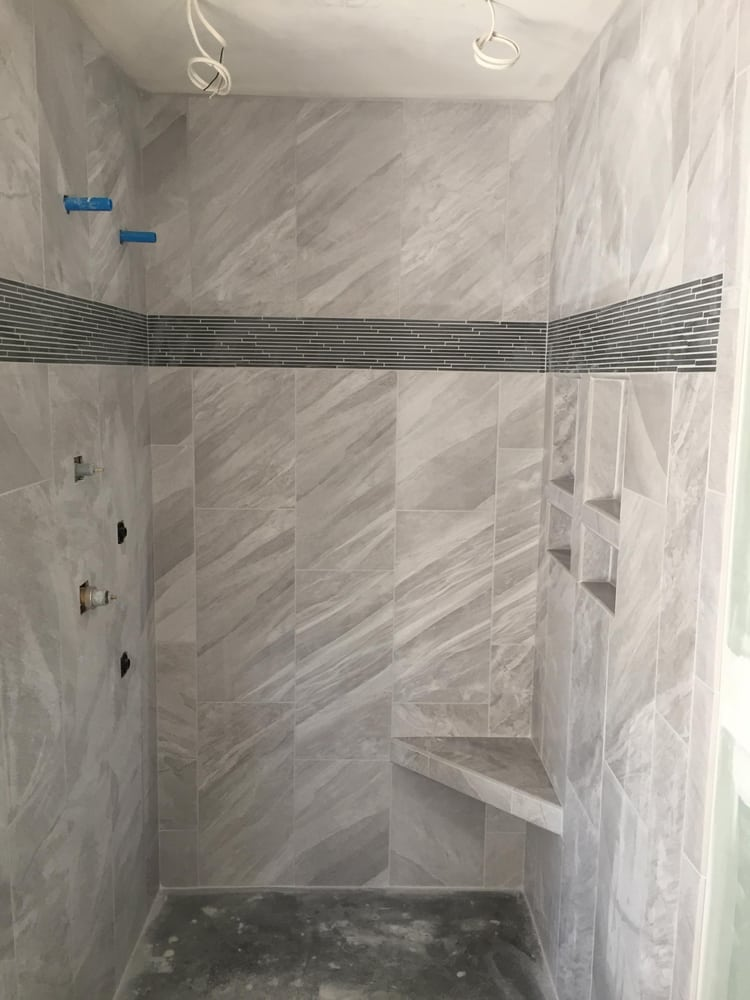 Beautiful Shower 12x24 Tiles Installed Vertically On A 1