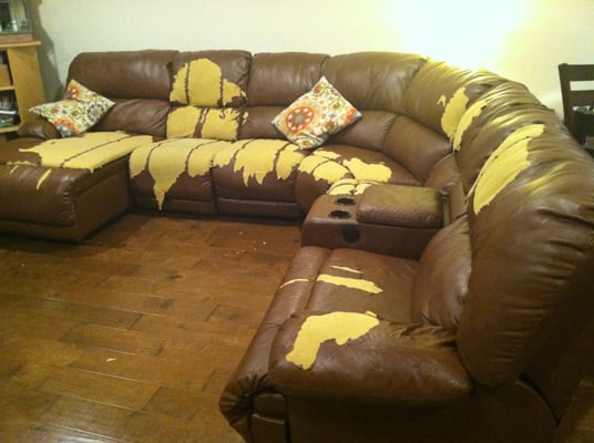 Leather sectional sofa from Jerome\'s after 4 years. Extended ...
