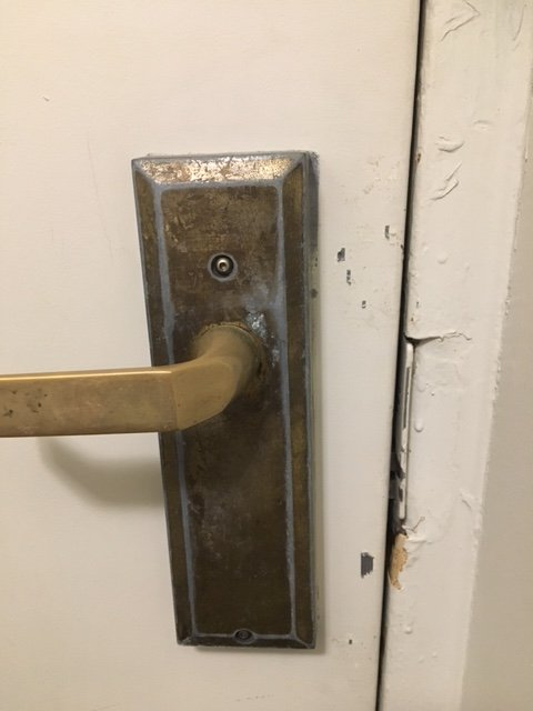 Photo of Hotel Pennsylvania - New York NY United States. No main lock & No main lock on the door. Looks like someone tried to break in ...
