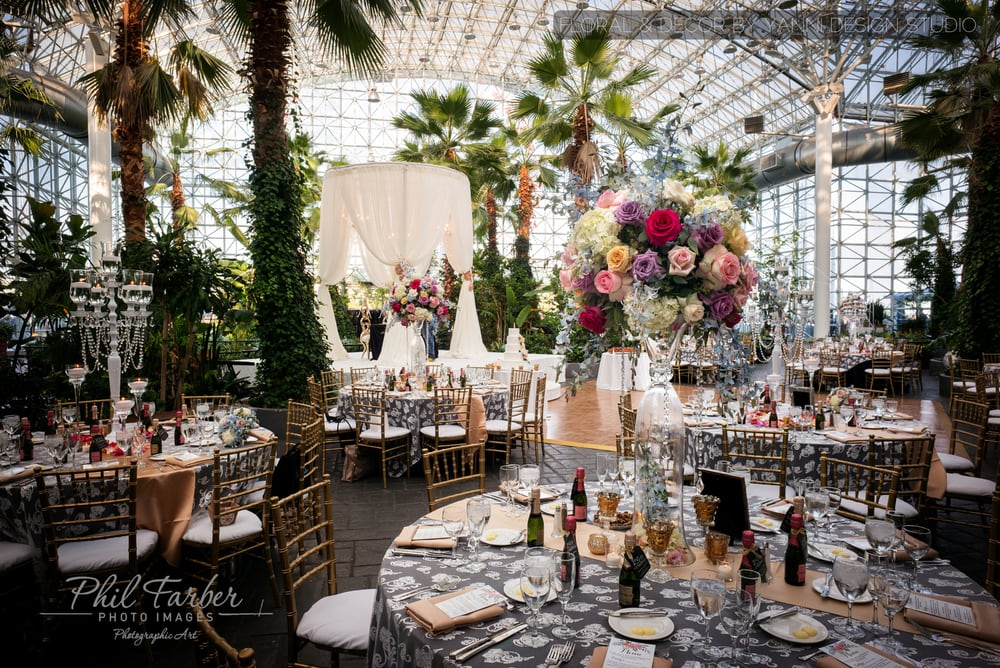 Tropical Wedding Reception Decor At The Crystal Gardens At Navy Pier