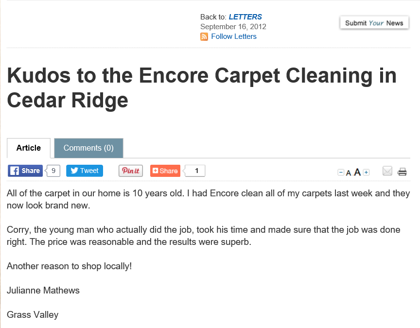 Encore Carpet Cleaning and Restoration: Cedar Ridge, CA