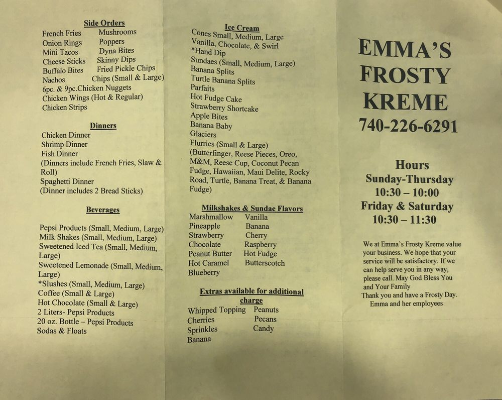 Emma's Frosty Kreme & Pizza: 5707 Beaver Pike, Beaver, OH
