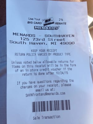 Menards Return Policy No Receipt