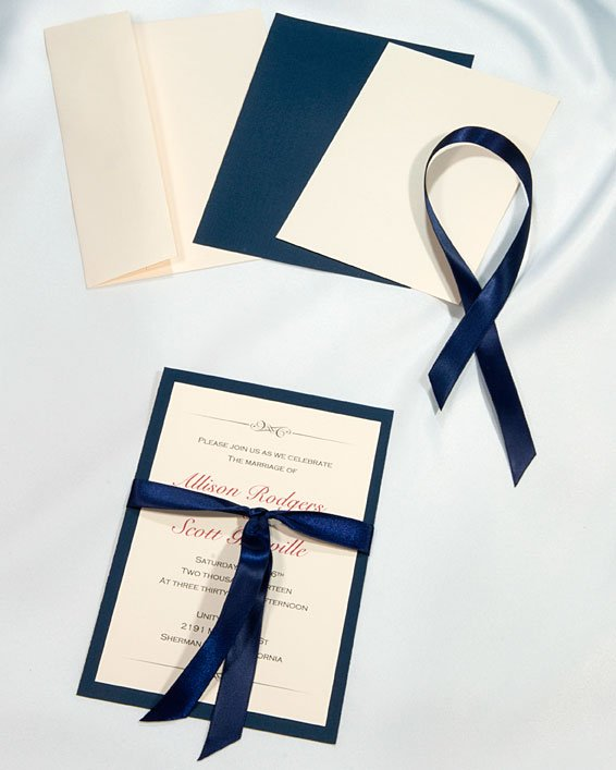 Photo Of Wedding Bell Invitations Boulder Co United States Navy Blue Ribboned
