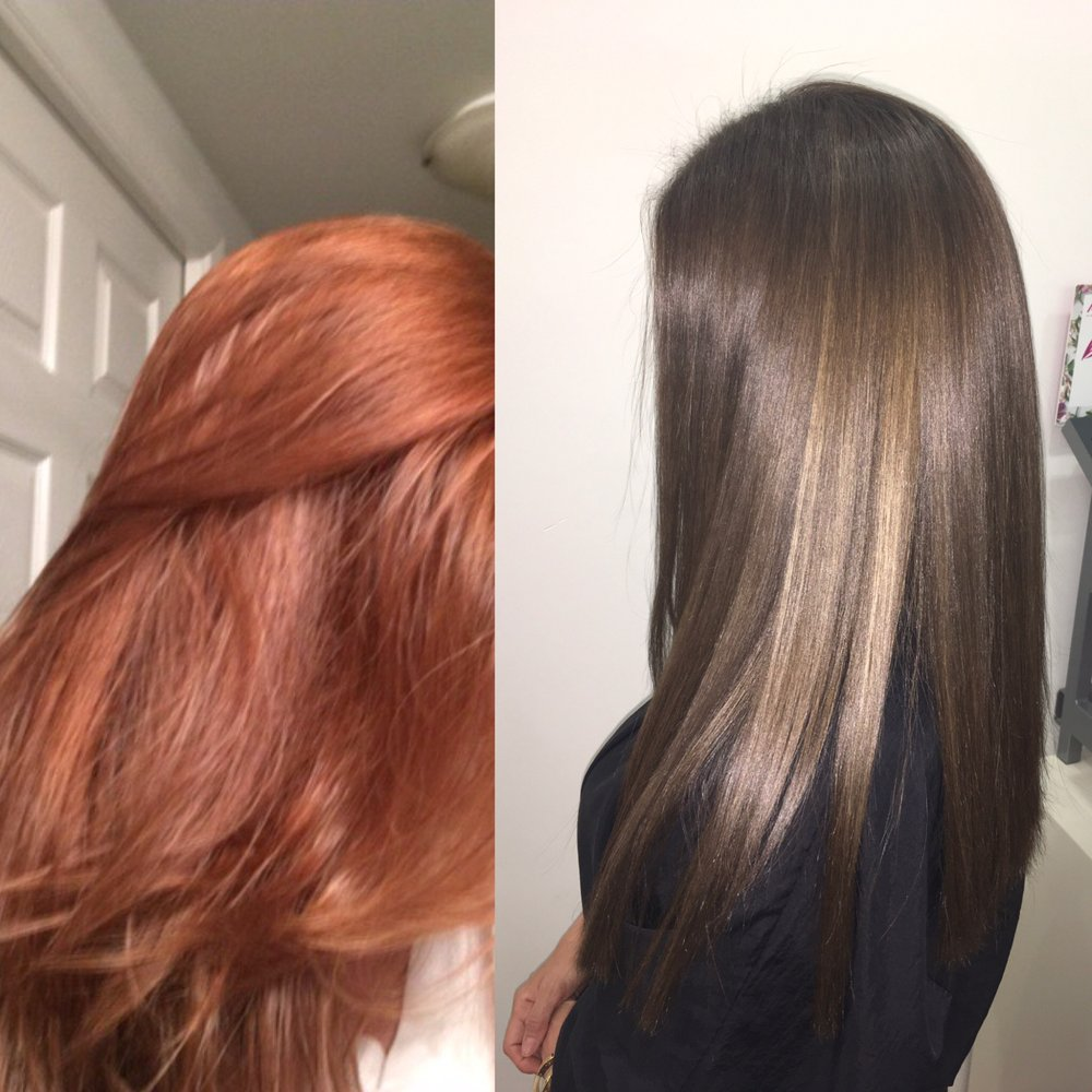 Color Correction Brassy Red To Natural Cool Brown Yelp