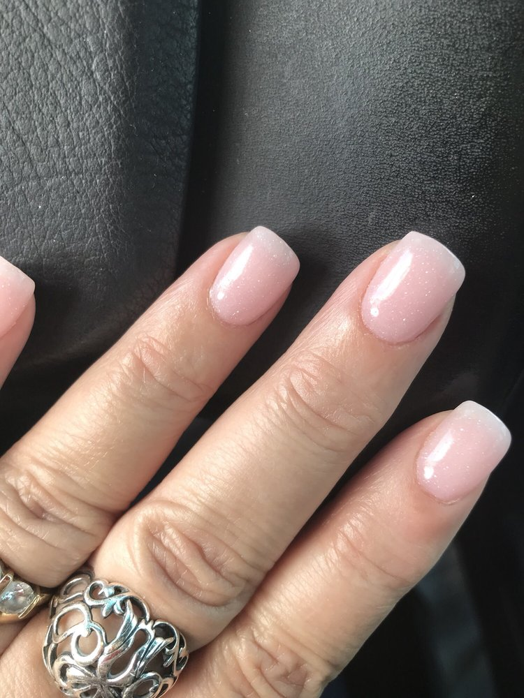 Gel dip nails. Very light pink with sparkles. Angela - Yelp