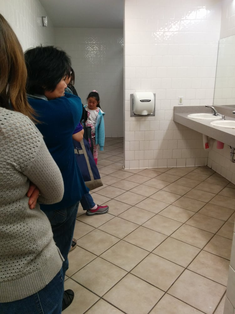 Waiting in line for 2 bathroom stalls! This goes all the ...