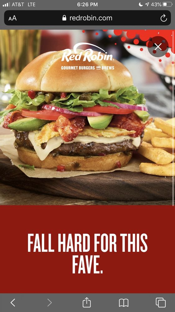 Food from Red Robin Gourmet Burgers and Brews