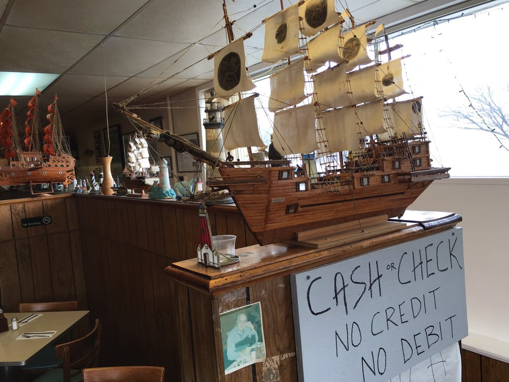 Funky 1950s memorabilia note cash only yelp for Scotty s fish and chips