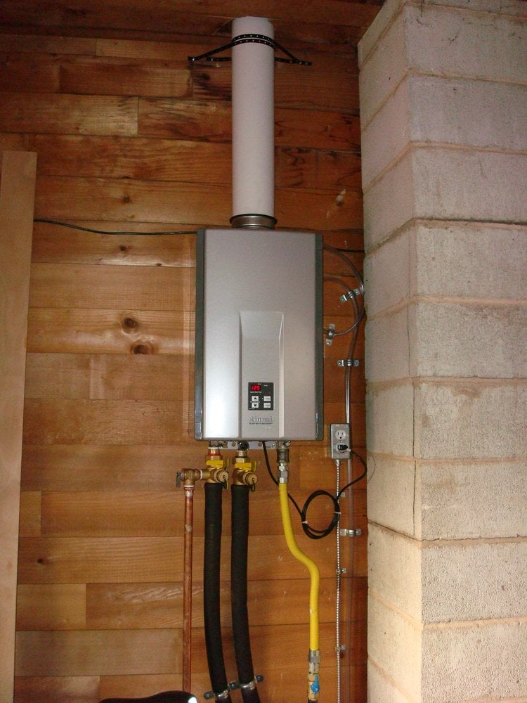 a clients' rinnai tankless water heater in his garage. - yelp