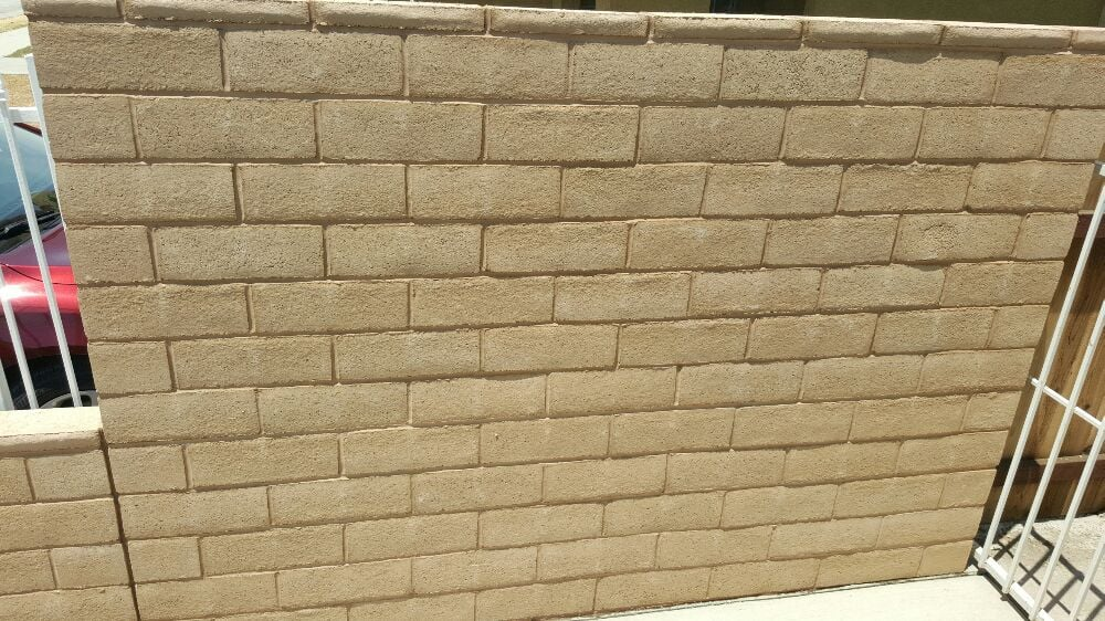 Slump Stone Brick : Inch tan slumpstone block wall yelp