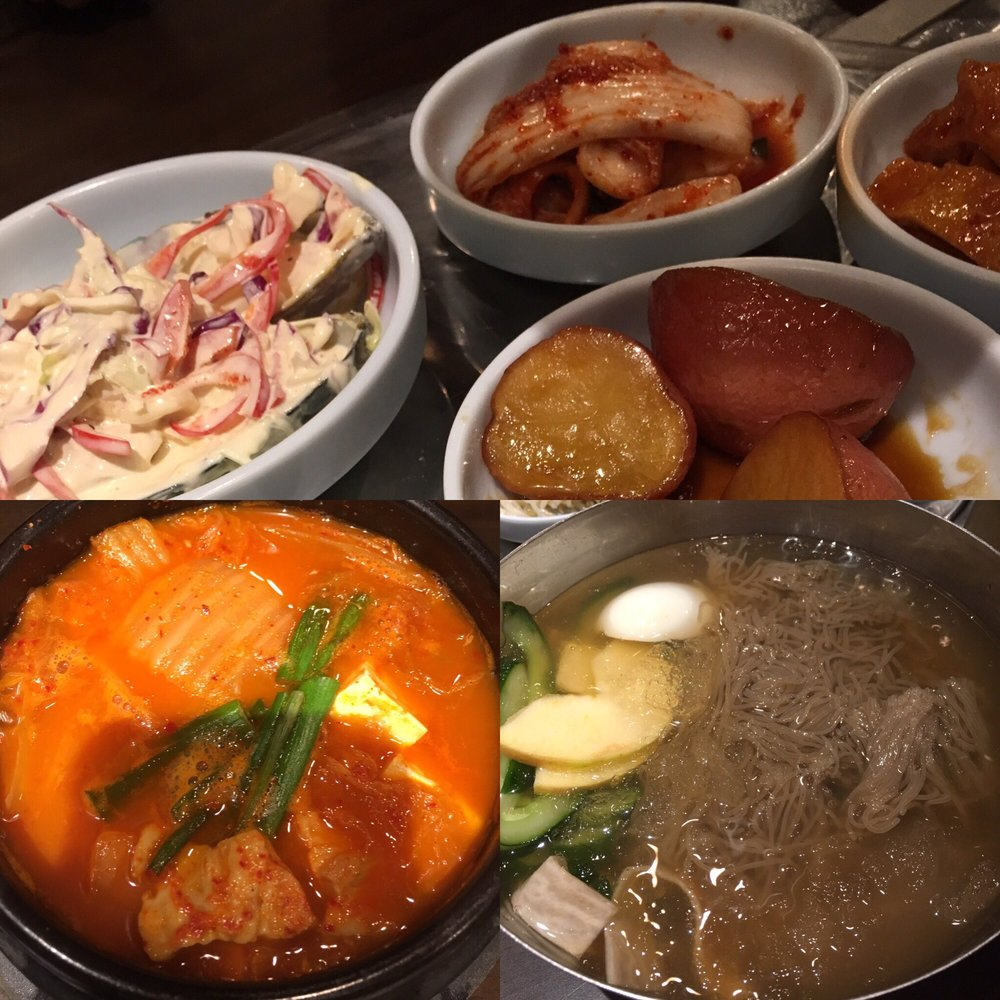 Side dishes, kimchee stew, cold noodle - Yelp