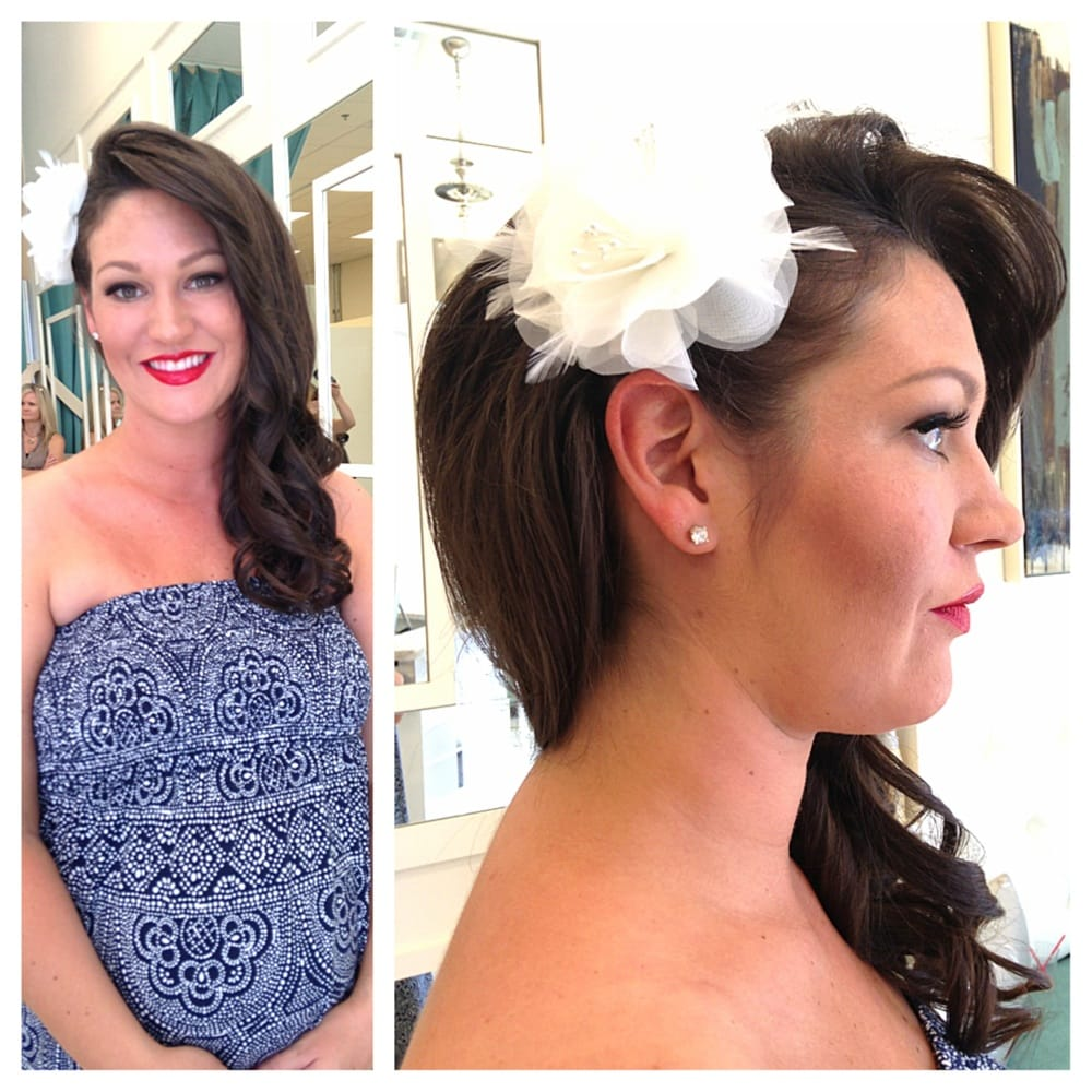 bride on her wedding day! half-updo, makeup, and nails done at