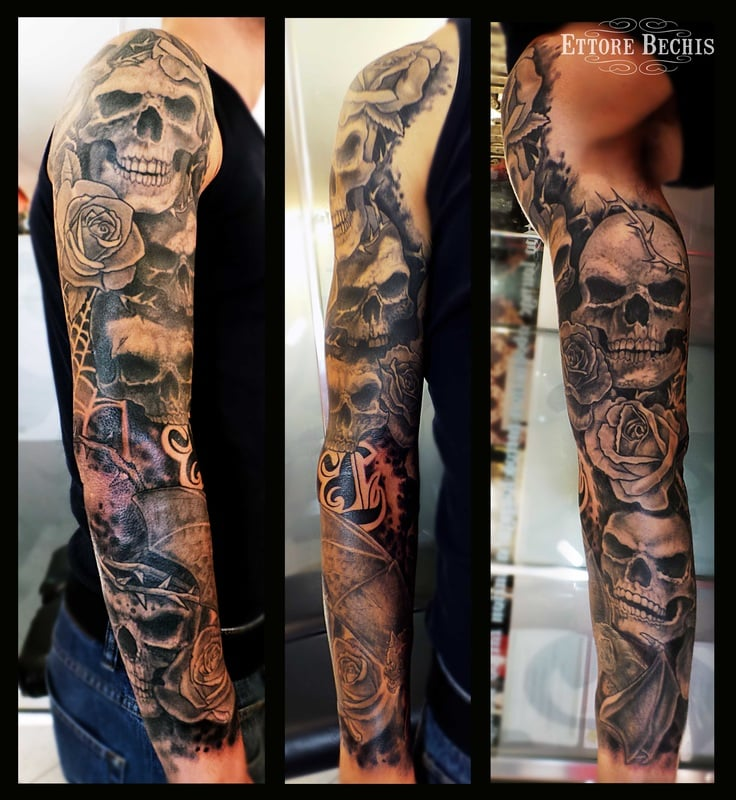 Skull full sleeve rose bat black and gray realism tattoo for Tattoo shops in miami beach