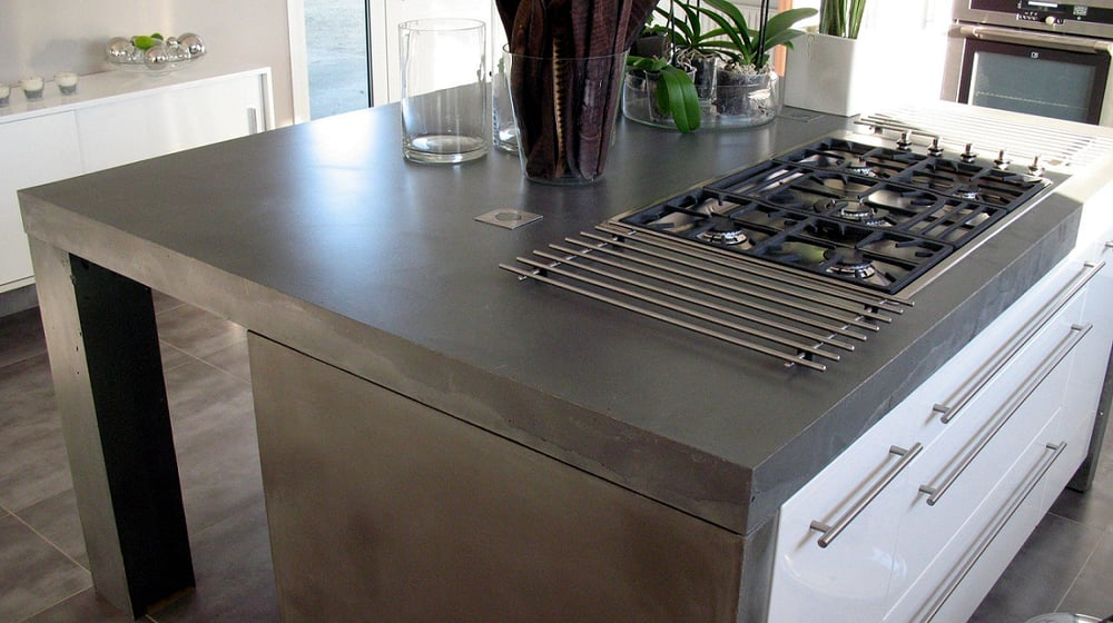 finished concrete slate grey countertop with decorative