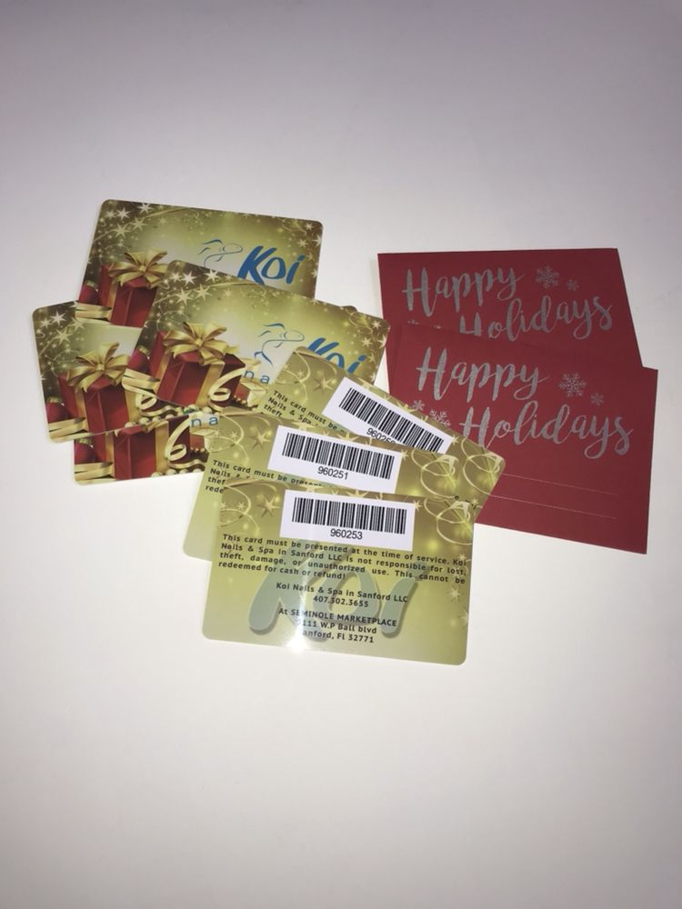 we custom print gift cards with barcode scan for all nail and hair