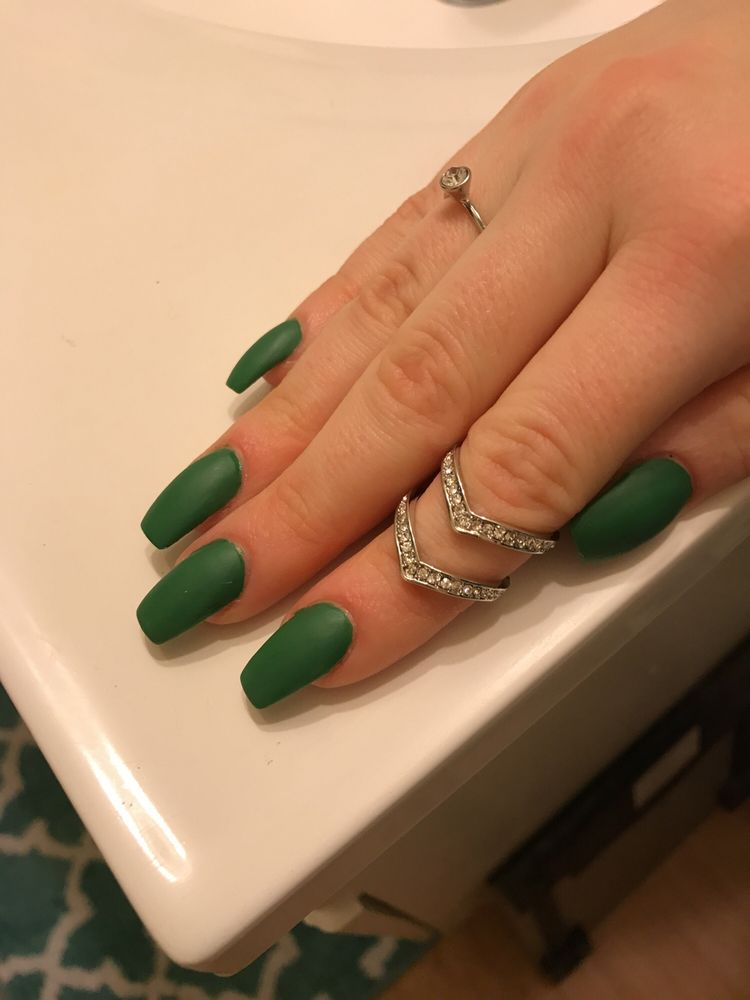 Army green matte coffin nails. **update. These only lasted 10 days ...