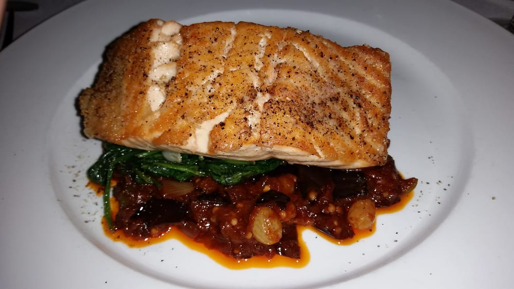 Italian Foods Near Me: My Huge Piece Of Salmon! Never Had It With Eggplant, But