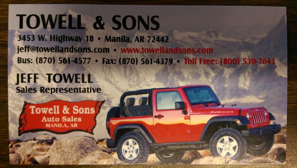 Towell & Sons Auto Sales: 3453 W State Hwy 18, Manila, AR