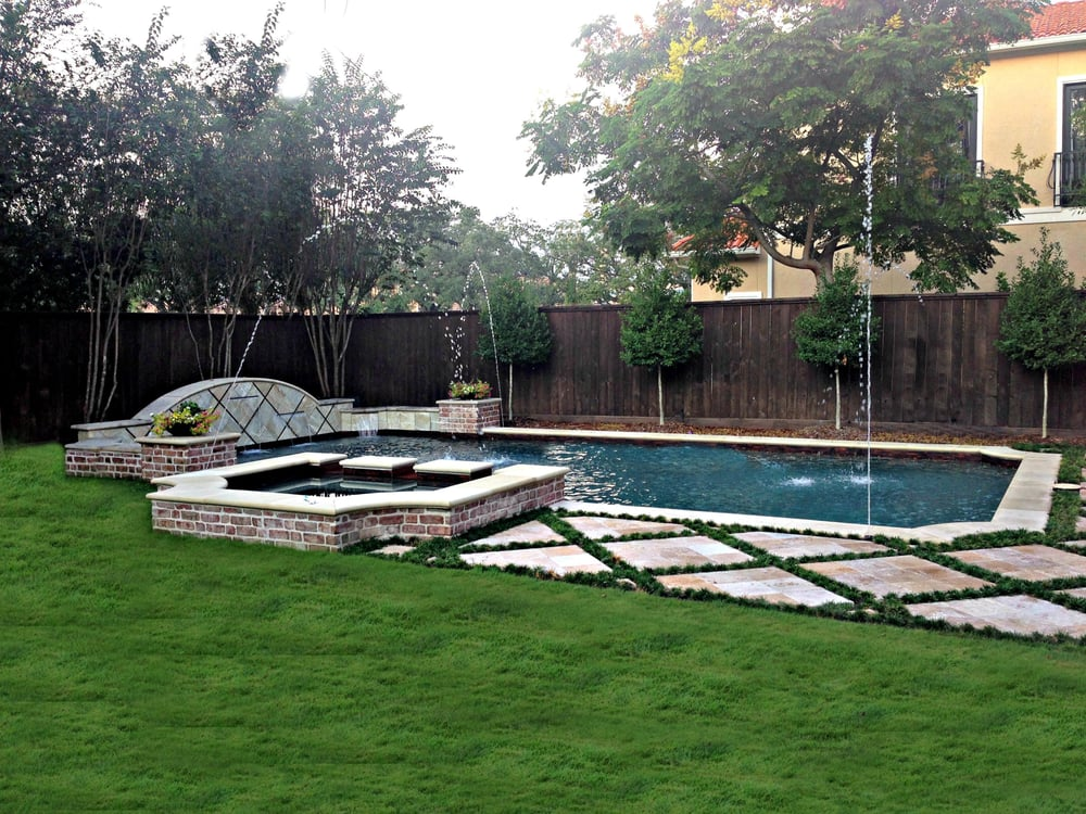 Beautiful Contemporary Pool Design With Old Chicago Brick
