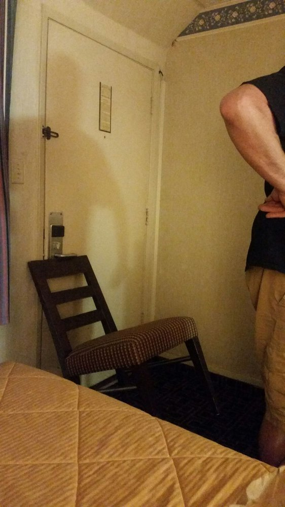 After cops said sleep with knife. I put chair for safety. - Yelp