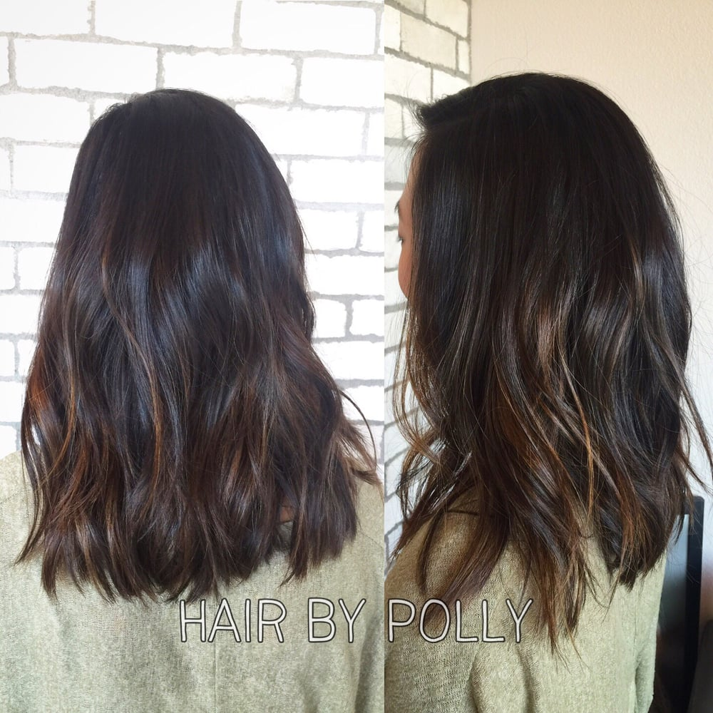 Textured Long Hair With Subtle Balayage On Asian Hair By
