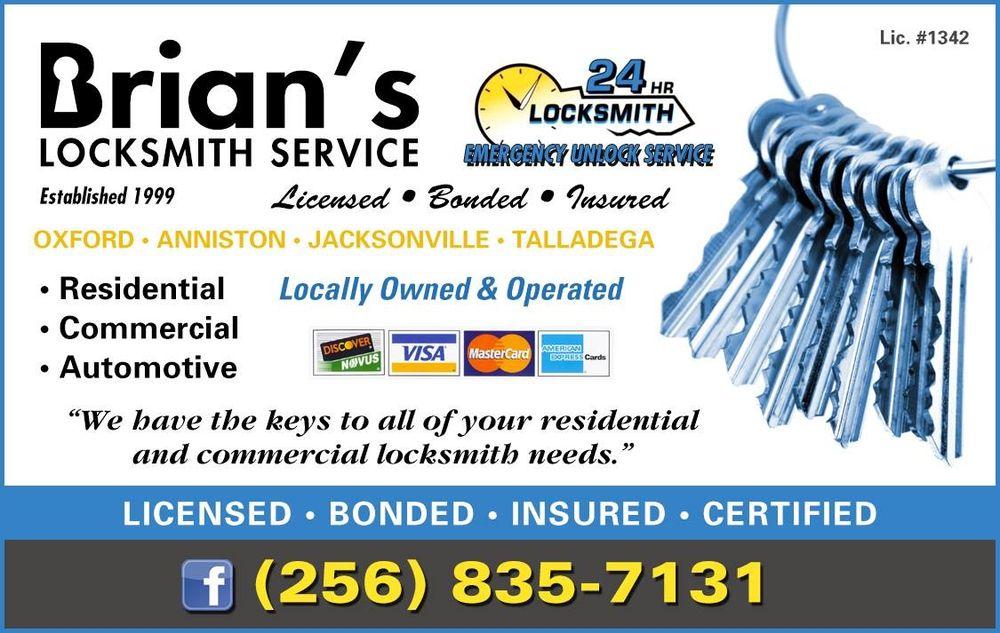 Brian's Locksmith Service: 31 Pace St, Oxford, AL