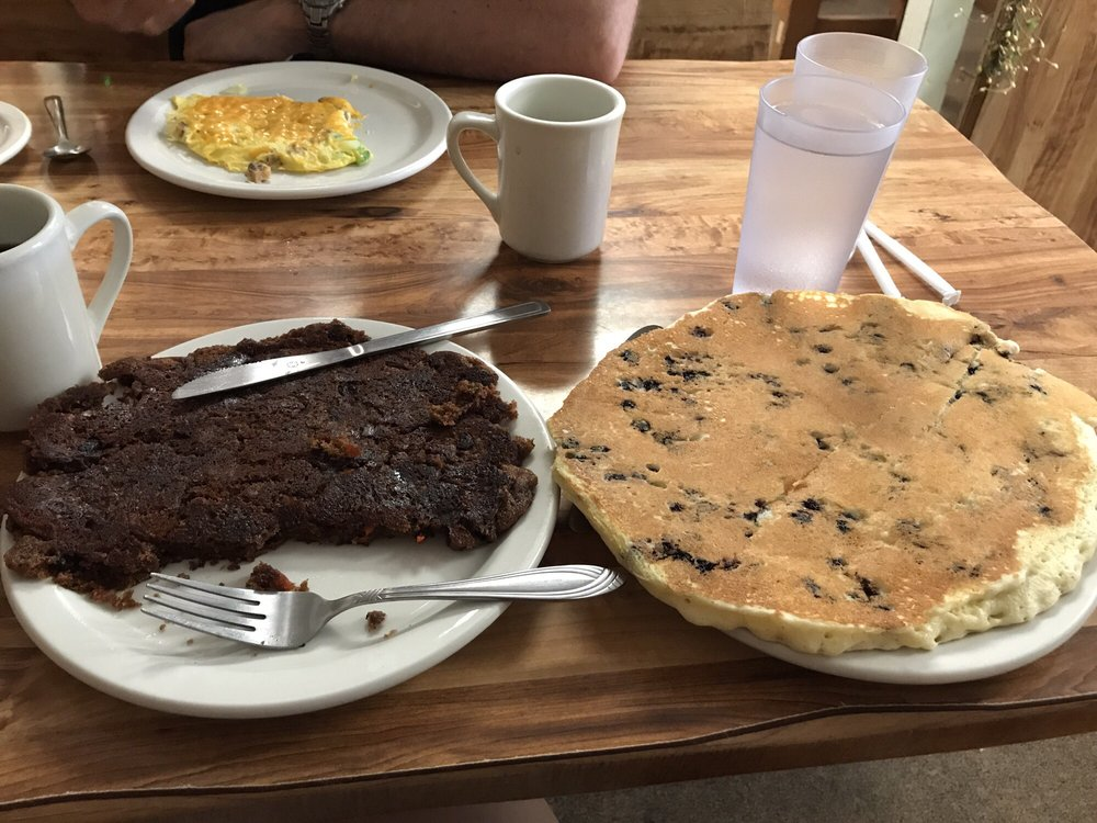 Photo of Chit Chat Cafe - Victor NY United States. Each pancake is & Each pancake is the size of a DINNER plate. Carrot cake pancake on ...