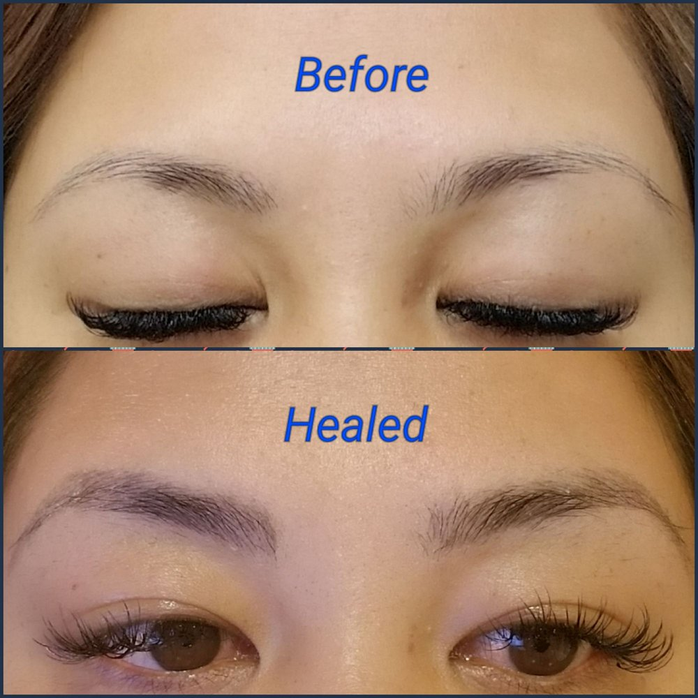 Before Microblading Procedure and 3 Weeks Healed, no makeup