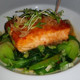 Restaurant X & Bully Boy Bar - Congers, NY, United States. Wild King Salmon Crisp Lotus Root, Baby Bok Choy Sugar Snap Peas & Dashi Broth