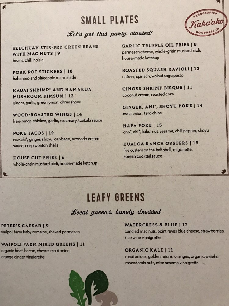 Moku Kitchen Honolulu Menu