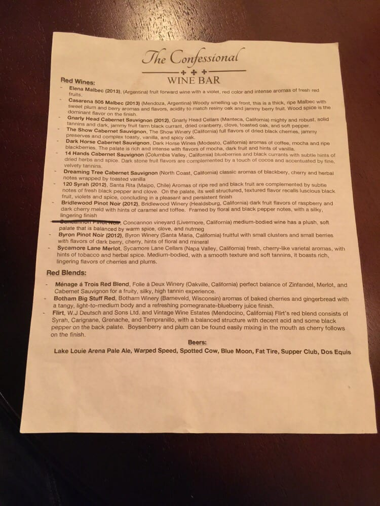 The Confessional Wine Bar: 235 Cobblestone Ct, Dodgeville, WI