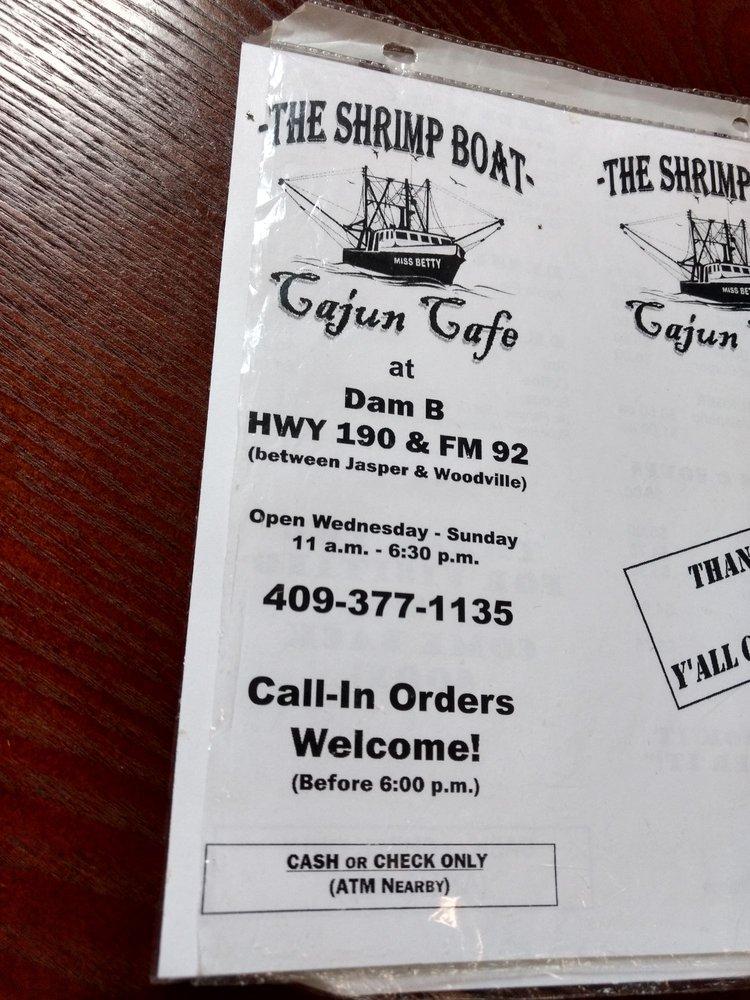The Shrimp Boat Cajun Cafe: 12170 US-190 E, Woodville, TX