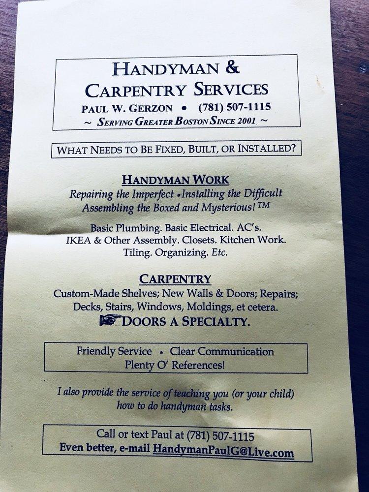 Handyman Paul G: Arlington, MA