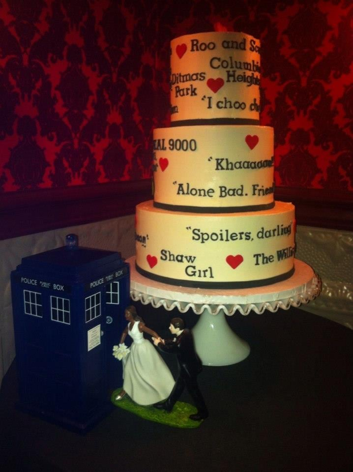 Pictures of our wedding cake from Nine Cakes and our Doctor Who
