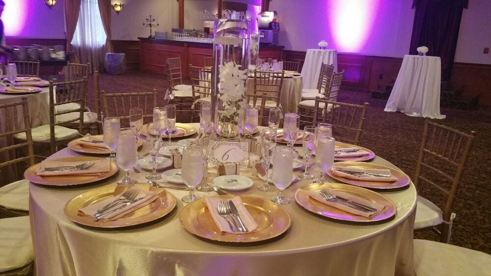 Photo of Weddings By Mailyn - Homestead FL United States. Table settings at & Table settings at Royal Palace Ballrooms in Miami Lakes - Yelp