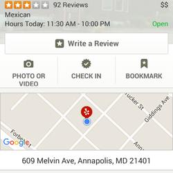 Mexican Cafe Menu Annapolis