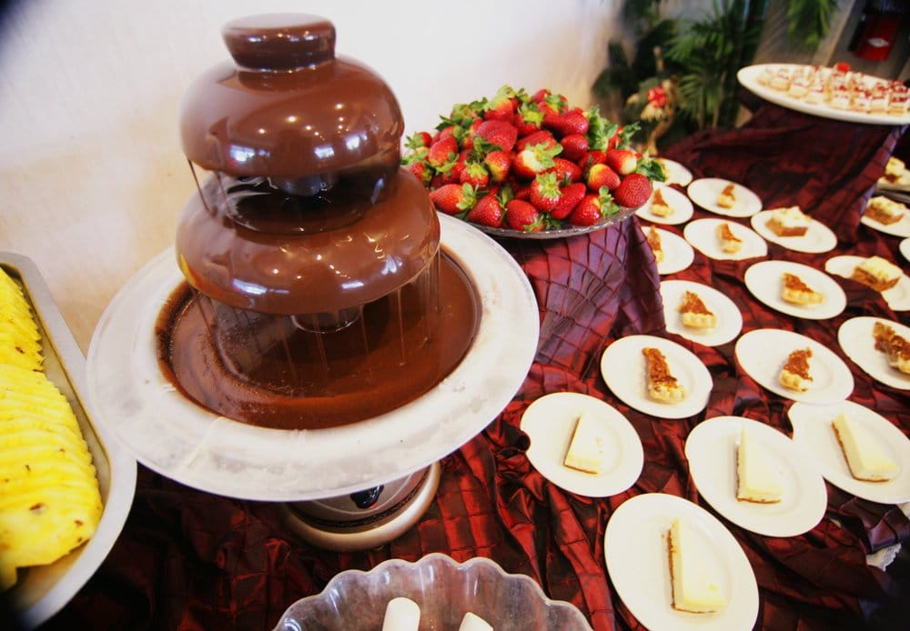 Chocolate Fountain With Fresh Fruit Berries From The Berry Farm