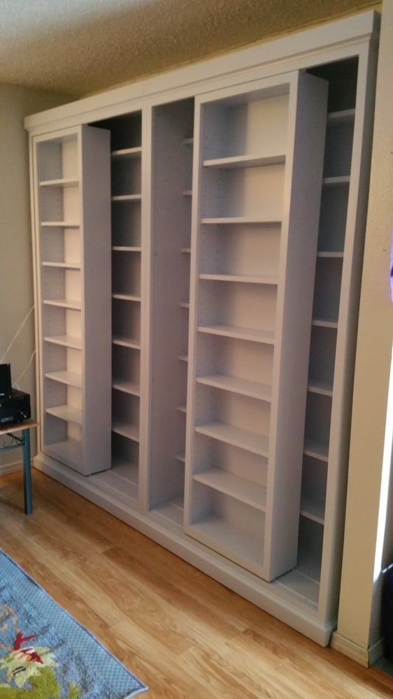 custom dvd shelves with sliding front shelves empty yelp rh yelp com Custom Wall Unit DVD DVD Racks and Shelves