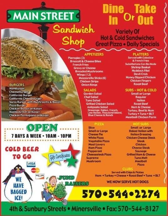 Main Street Sandwich Shop: 401 Sunbury St, Minersville, PA