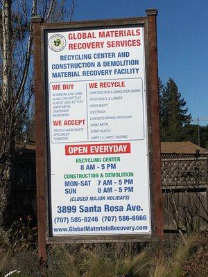 Santa Rosa Recycling Center >> Global Materials Recovery Services 3899 Santa Rosa Ave Santa Rosa